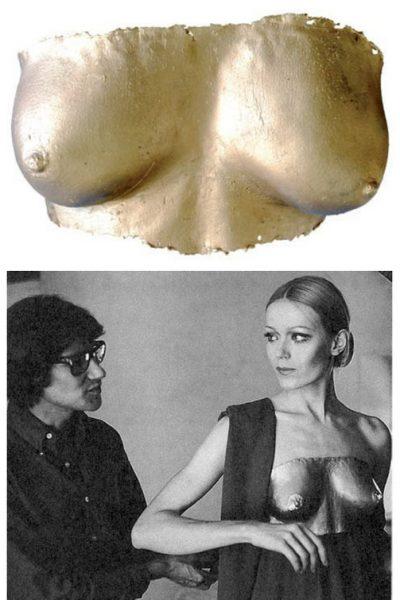 Claude Lalanne-seins-1969-Cuivre galvanique doré-Yves Saint Laurent -model-Veroushka-1969 copy