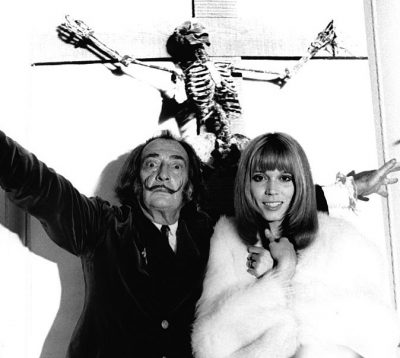Dali Amanda Lear with skeleton photographed by Jean Pierre Auclert