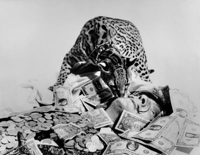 Spanish painter Salvador DALI with his ocelot. 1965.