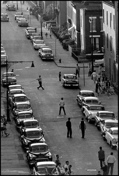 USA. Brooklyn, NY. 1959. Brooklyn Gang. Playing stickball on Seventeenth Street and Eighth Avenue.