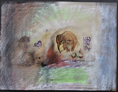 "Gouache, Mixed-Media; 30x39 cm; Inscribed ""Munford Paris 65"""