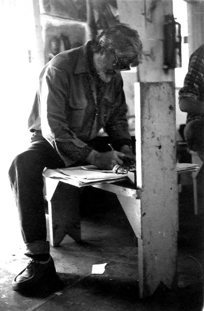 american artist robert munford at work in his studio in southampton