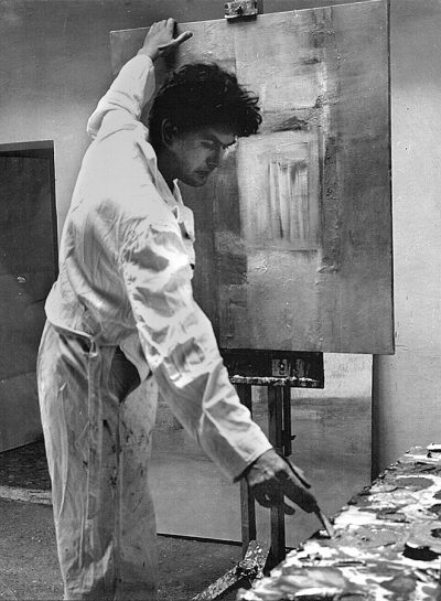 american artist robert munford at work in his studio