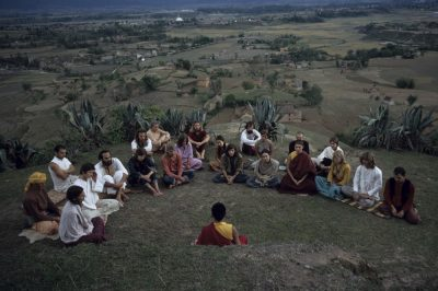 group of hippies meditating, Nepal circa 1970