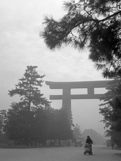 shinto shrine in the fog, japan circa 1950 by photographer jose suarez